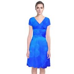 Blue Jellyfish 1 Short Sleeve Front Wrap Dress by trendistuff