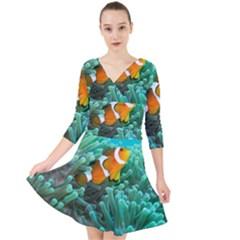 Clownfish 3 Quarter Sleeve Front Wrap Dress by trendistuff