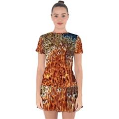 Fire Coral 1 Drop Hem Mini Chiffon Dress by trendistuff
