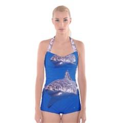 Great White Shark 5 Boyleg Halter Swimsuit  by trendistuff