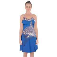 Great White Shark 5 Ruffle Detail Chiffon Dress by trendistuff