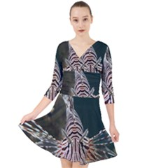 Lionfish 4 Quarter Sleeve Front Wrap Dress by trendistuff