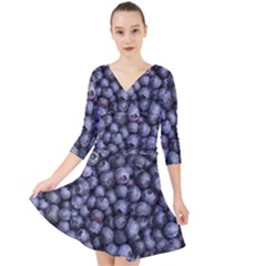 Blueberries 3 Quarter Sleeve Front Wrap Dress by trendistuff