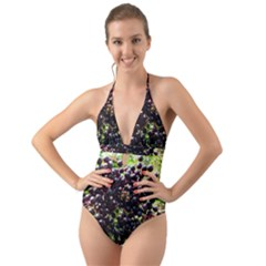 Elderberries Halter Cut Out One Piece Swimsuit by trendistuff