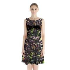 Elderberries Sleeveless Waist Tie Chiffon Dress by trendistuff