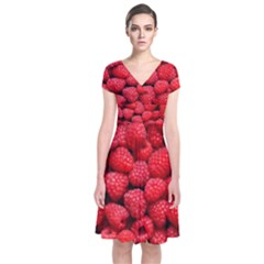 Raspberries 2 Short Sleeve Front Wrap Dress by trendistuff
