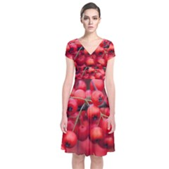 Red Berries 1 Short Sleeve Front Wrap Dress by trendistuff