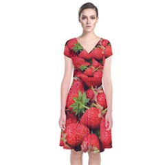 Strawberries 1 Short Sleeve Front Wrap Dress by trendistuff