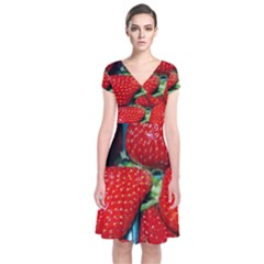 Strawberries 3 Short Sleeve Front Wrap Dress by trendistuff
