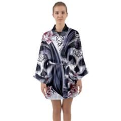 Day Of The Dead Sugar Skull Long Sleeve Kimono Robe by StarvingArtisan