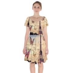 Vintage Paris Carte Postale Short Sleeve Bardot Dress by augustinet
