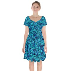 Teal Leafs Short Sleeve Bardot Dress by augustinet