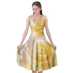 Beautiful Yellow Rose Cap Sleeve Wrap Front Dress by FantasyWorld7