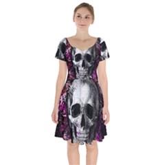 Skull Short Sleeve Bardot Dress by Valentinaart