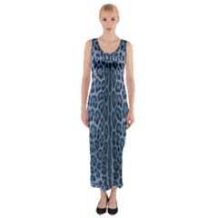 Blue Leopard Print Fitted Maxi Dress by CasaDiModa