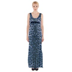 Blue Leopard Print Maxi Thigh Split Dress by CasaDiModa