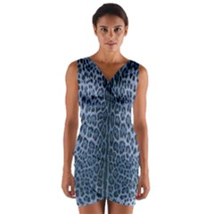 Blue Leopard Print Wrap Front Bodycon Dress by CasaDiModa