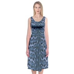 Blue Leopard Print Midi Sleeveless Dress by CasaDiModa