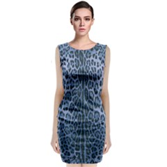 Blue Leopard Print Classic Sleeveless Midi Dress by CasaDiModa