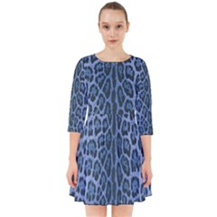 Blue Leopard Print Smock Dress by CasaDiModa