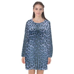 Blue Leopard Print Long Sleeve Chiffon Shift Dress  by CasaDiModa