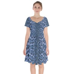 Blue Leopard Print Short Sleeve Bardot Dress by CasaDiModa