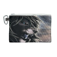 Angry Male Lion Digital Art Canvas Cosmetic Bag (large) by Samandel