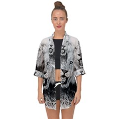 Lion Wildlife Art And Illustration Pencil Open Front Chiffon Kimono by Samandel