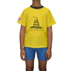 Gadsden Flag Don t Tread On Me Kids  Short Sleeve Swimwear by snek