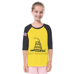 Gadsden Flag Don t Tread On Me Kids  Quarter Sleeve Raglan Tee by snek