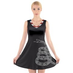 Gadsden Flag Don t Tread On Me V Neck Sleeveless Skater Dress by snek