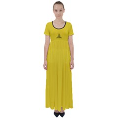 Gadsden Flag Don t Tread On Me High Waist Short Sleeve Maxi Dress by MAGA