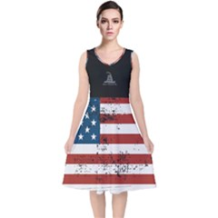 Gadsden Flag Don t Tread On Me V Neck Midi Sleeveless Dress  by snek