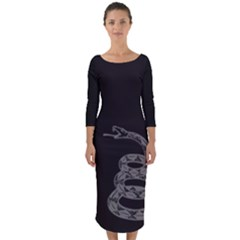 Gadsden Flag Don t Tread On Me Quarter Sleeve Midi Bodycon Dress by snek