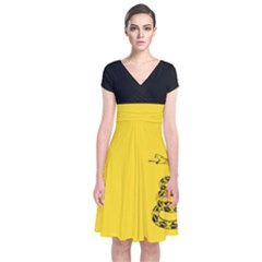 Gadsden Flag Don t Tread On Me Short Sleeve Front Wrap Dress by snek