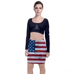 Gadsden Flag Don t Tread On Me Long Sleeve Crop Top & Bodycon Skirt Set by snek