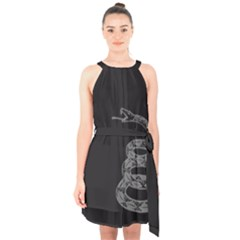 Gadsden Flag Don t Tread On Me Halter Collar Waist Tie Chiffon Dress by snek