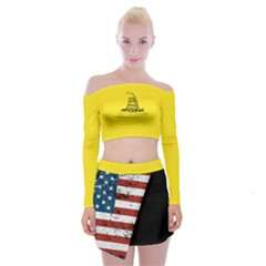 Gadsden Flag Don t Tread On Me Off Shoulder Top With Mini Skirt Set by snek
