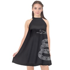 Gadsden Flag Don t Tread On Me Halter Neckline Chiffon Dress  by snek