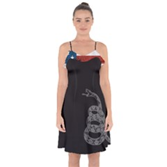 Gadsden Flag Don t Tread On Me Ruffle Detail Chiffon Dress by snek