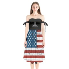 Gadsden Flag Don t Tread On Me Shoulder Tie Bardot Midi Dress by MAGA