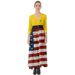 Gadsden Flag Don t Tread On Me Button Up Boho Maxi Dress by MAGA