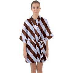 Stripes3 White Marble & Reddish Brown Wood Quarter Sleeve Kimono Robe by trendistuff
