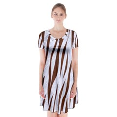 Skin3 White Marble & Reddish Brown Wood (r) Short Sleeve V Neck Flare Dress by trendistuff
