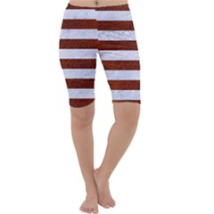 Stripes2white Marble & Reddish Brown Leather Cropped Leggings  by trendistuff