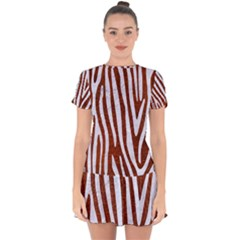 Skin4 White Marble & Reddish Brown Leather (r) Drop Hem Mini Chiffon Dress by trendistuff