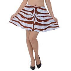 Skin2 White Marble & Reddish Brown Leather (r) Velvet Skater Skirt by trendistuff
