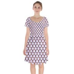 Scales1 White Marble & Reddish Brown Leather (r) Short Sleeve Bardot Dress by trendistuff
