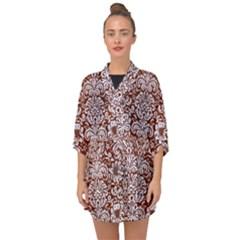 Damask2 White Marble & Reddish Brown Leather Half Sleeve Chiffon Kimono by trendistuff