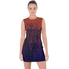 Ombre Branches Lace Up Front Bodycon Dress by greenthanet